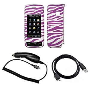 purple and white zebra stripes design snap on cover hard case cell phone protector. Black Bedroom Furniture Sets. Home Design Ideas