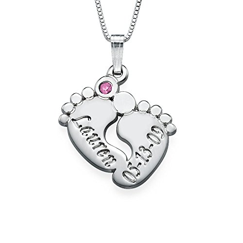 Personalized Baby Feet Necklace - Custom Made With Any Name! (20 Inches, October-Rose Quartz) front-205233