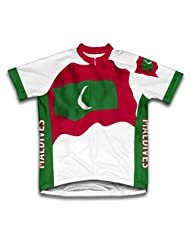Maldives Flag Short Sleeve Cycling Jersey for Women
