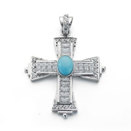 Cross 18kt white gold with cubic zirconia and turquoise