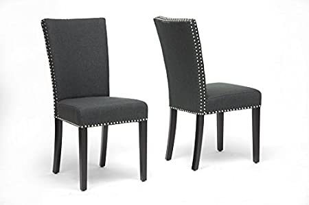Harrowgate Dark Gray Linen Modern Dining Chair with Chanasya Polish Cloth Bundle (Set of Two)