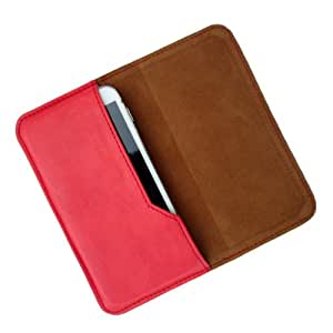 i-KitPit : PU Leather Flip Pouch Case Cover For Lava iris 430 (RED)