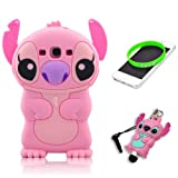 Pink 3d Movable Ear Flip Stitch & Lilo for Samsung Galaxy S3 III I9300 Android with 3d Stitch Stylus Pen