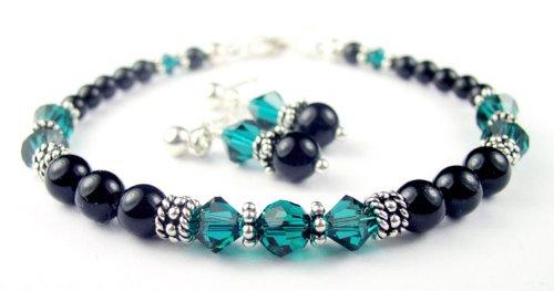 Blue Zircon 2 Piece Set: Sterling Silver Beaded Swarovski Crystal Black Pearl Bracelets and Earrings