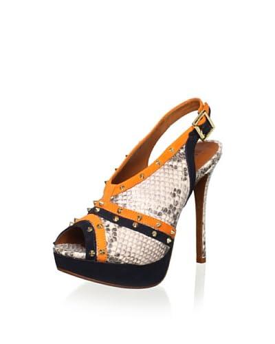 Schutz Women's Elana Sandal  - Black/Orange/Snake