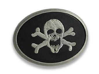 Black Leather Embroidered Skull and Crossbones Belt Buckle