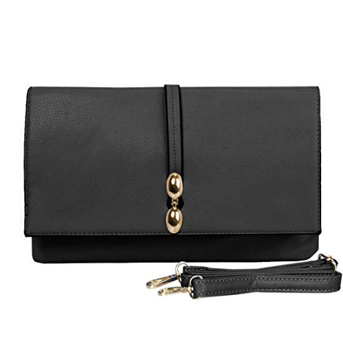 BMC Classically Chic Noir Film Faux Leather Large Envelope Style Fashion Accessory Statement Clutch (Cream Clutch compare prices)