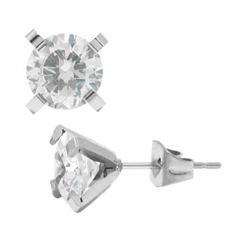 Inox Large 4-Pong Stainless Steel & CZ Post Earrings