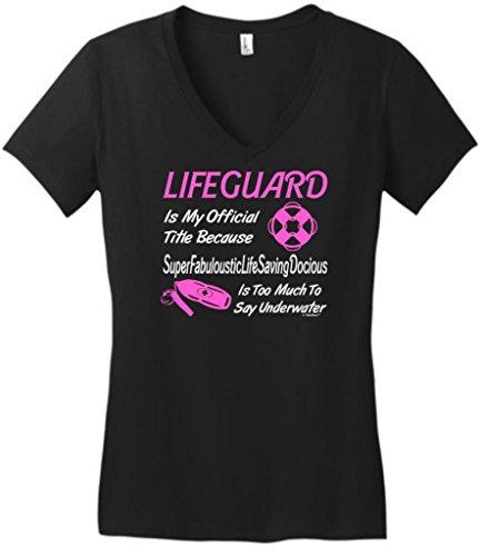 Lifeguard My Official Title Humorous Juniors V-Neck Medium Black (Baywatch Trunks)