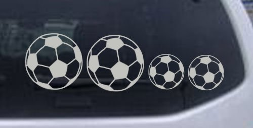 Soccer Ball Stick Family Stick Family Car Window Wall Laptop Decal Sticker -- Silver 8in X 2.5in