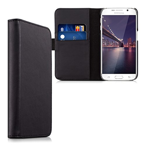 kalibri-Leder-Hlle-James-fr-Samsung-Galaxy-S6-S6-Duos-Echtleder-Schutzhlle-Wallet-Case-Style-mit-Karten-Fchern-in-Schwarz