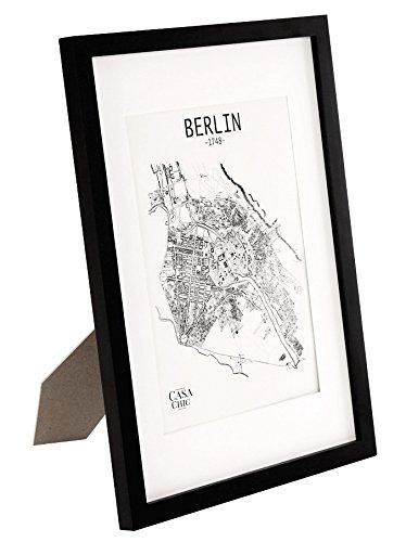 Massivholz-A3-Bilderrahmen-mit-A4-Passepartout-und-Plexiglasscheibe-Poster-Holzbilderrahmen-Rahmenbreite-2cm-Schwarz