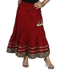 Sringar Brown Casual Knee Length Skirt _AS2036_MRN