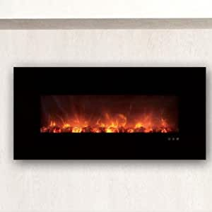 Modern Flames Clx Series Wall Mount Built In Electric Fireplace With Black Glass