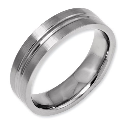 Titanium Grooved 6mm Brushed and Polished Band Size 10.5