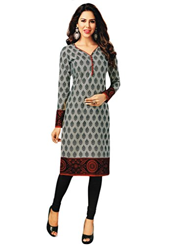Salwar Studio Women's Grey & Black Cotton Floral Printed Kurti Fabric