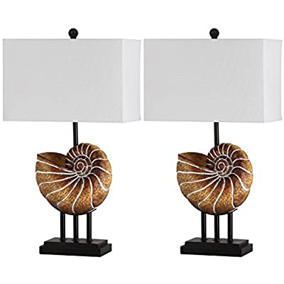 Safavieh Lighting Collection Nautilus Shell Lt Brown 28-inch Table Lamp (Set of 2)