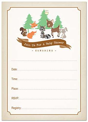 24 Cnt Woodland Animals Fill-in Invitations (Forest Baby Shower Invitations compare prices)
