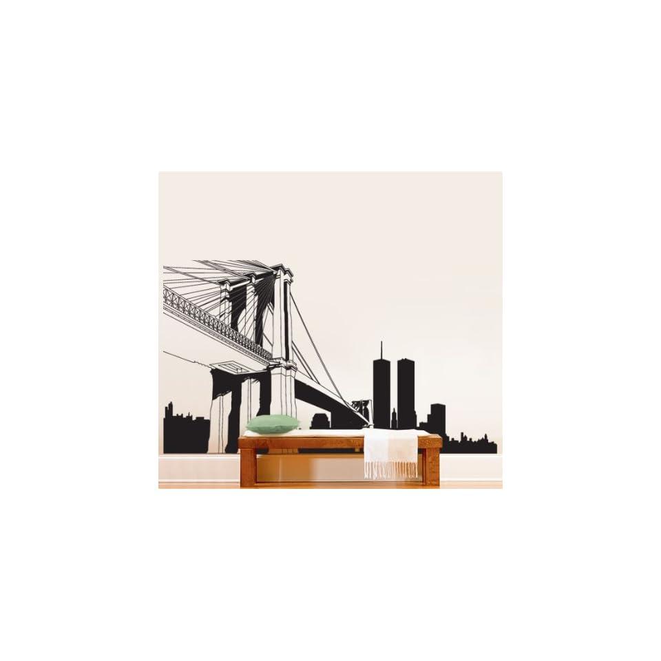 Vinyl Wall Art Decal Sticker NYC Brooklyn Bridge World Trade Center BIG 12ft Long x 7ft Tall #334