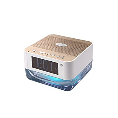 GRANDEY Wireless bluetooth speaker with colorful light bedside lamp and clock alarm,radio, playing with Micro-sd, audio input (white-golden)