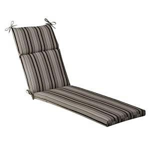 Pillow perfect indoor outdoor black beige striped chaise for Black chaise lounge cushions
