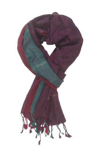 In-Sattva Colors - Vertical & Horizontal Stripe Rich Color Block Scarf Stole Maroon