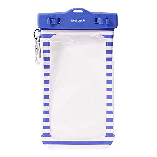 オウルテック 防水・防塵ケース もしもの時でも安心メーカー保証 iPhone 6s / 6sPlus等対応 最高級保護レベルIP68取得 フロート ネックストラップ カラビナ付 ボーダー柄 ブルー OWL-WPCSP01BO-BL