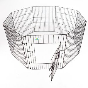 GoGo Pet Products High Epoxy Exercise Pen with Door for Dogs, 36-Inch, Black