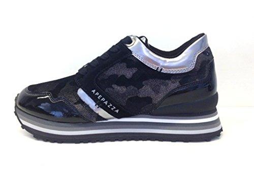 APEPAZZA RSD01 RIHANNA MTL-MIMETIC NERO,scarpe donna,sneakers,fantasia mimetica,lacci (35)