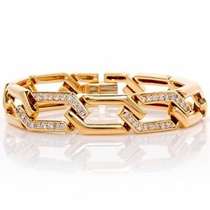 Estate Retro 1.50cts Diamond Gold Geometric Link Bracelet