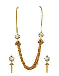 Long Necklace Set With Golden Strings In Pearl