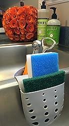 Adams of Saratoga Kitchen Sink Plastic Draining Saddle Sponge Holder, Sponge and Scouring Pad Caddy-Grey