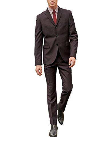 HBDesign Men 2 Piece 3 Button Peak Lapel Slim Fit Vintage Formal Tuxedo Red 48R