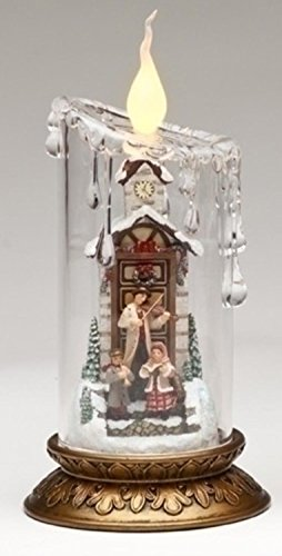 """8"""" Joseph's Studio Lighted Clear Victorian Pillar Christmas Candle with Carolers"""