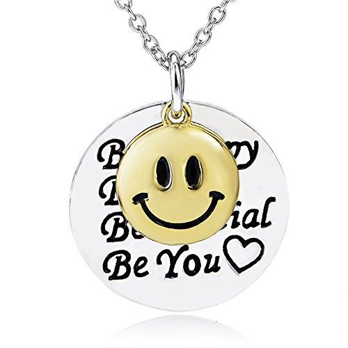 YFN Sterling Silver Happy Face Inspirational Letters Engraved 2 Piece Charm Pendant Necklace