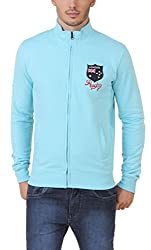 Aventura Outfitters Full Sleeves Sky Blue Fleece Zipper Jacket with Rugby Embroidery -XL (AOJKT08-XL)