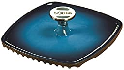 Lodge Color ECPP33 Enameled Cast Iron Square Panini Press, Caribbean Blue by Lodge