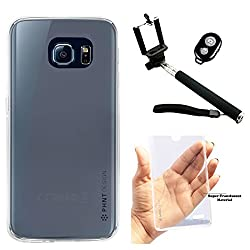 DMG PHNT Premium Scratch-Resistant Ultra Thin Clear TPU Skin Case for Samsung Galaxy S6 Edge (Clear) + Handheld Selfie Monopod with Bluetooth Clicker