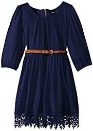 My Michelle Big Girls\' Belted Dress with Drippy Lace Hem, Navy, 14