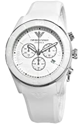 Emporio Armani Men's AR1435 Ceramic White Silicone Strap Chronograph Watch