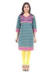 Femizen blueprinted cotton kurti34 Sleeves