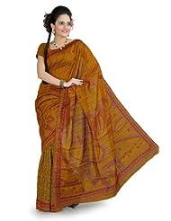 Designersareez Women Bhagalpuri Silk Printed Mustard Saree With Unstitched Blouse(853)