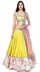 Khazanakart Designer Yellow Color Banglori Fabric Un-stitched Lehenga Choli With Chiffon Dupatta Material.