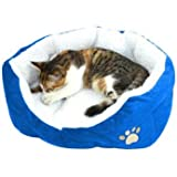 SWT Blue Warm Indoor Soft Fleece Puppy Pets Dog Cat Bed House Basket with Mat waterproof