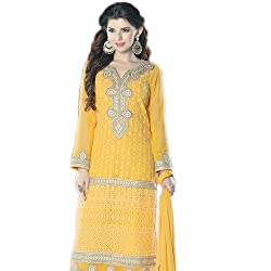 Paridhan Women's Georgette Unstitched Suit (SRPR 18008_Yellow_Free Size)
