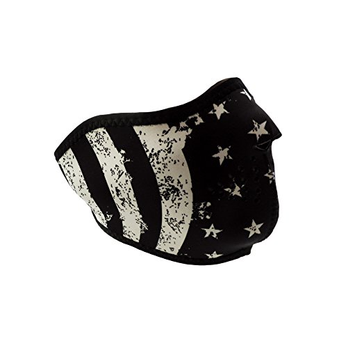 ZAN Headgear 1/2 Face Neoprene Mask Black & White Vintage Flag