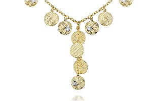 14K Yellow Gold Matte-Finish Hand-Crafted Textured Y-Shaped Necklace, Designed with Dangling Round-Shape Gold Stations, Enhanced with Bezel Set Diamonds.