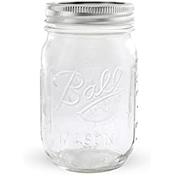1 Ball Mason Jar with Lid - Regular Mouth - 16 oz