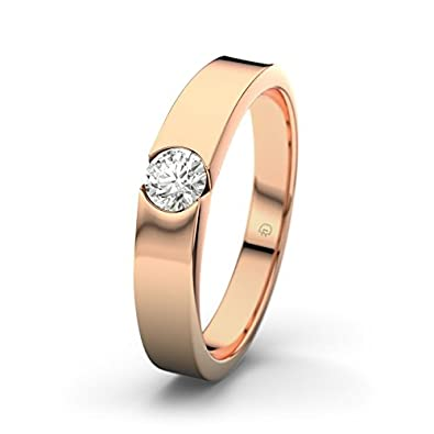 21DIAMONDS Women's Ring Jessica 0.15 CT Brilliant Cut Diamond Engagement Ring 14ct Rose Gold Engagement Ring