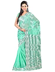 Designer Staggering Green Colored Embroidered Faux Georgette Saree By Triveni